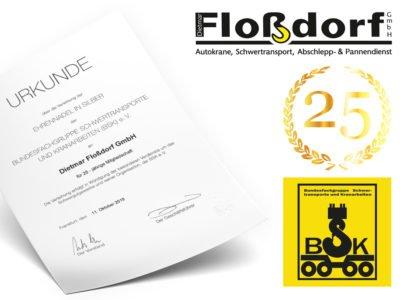 Urkunde 25 Jahre Mitglied Flossdorf